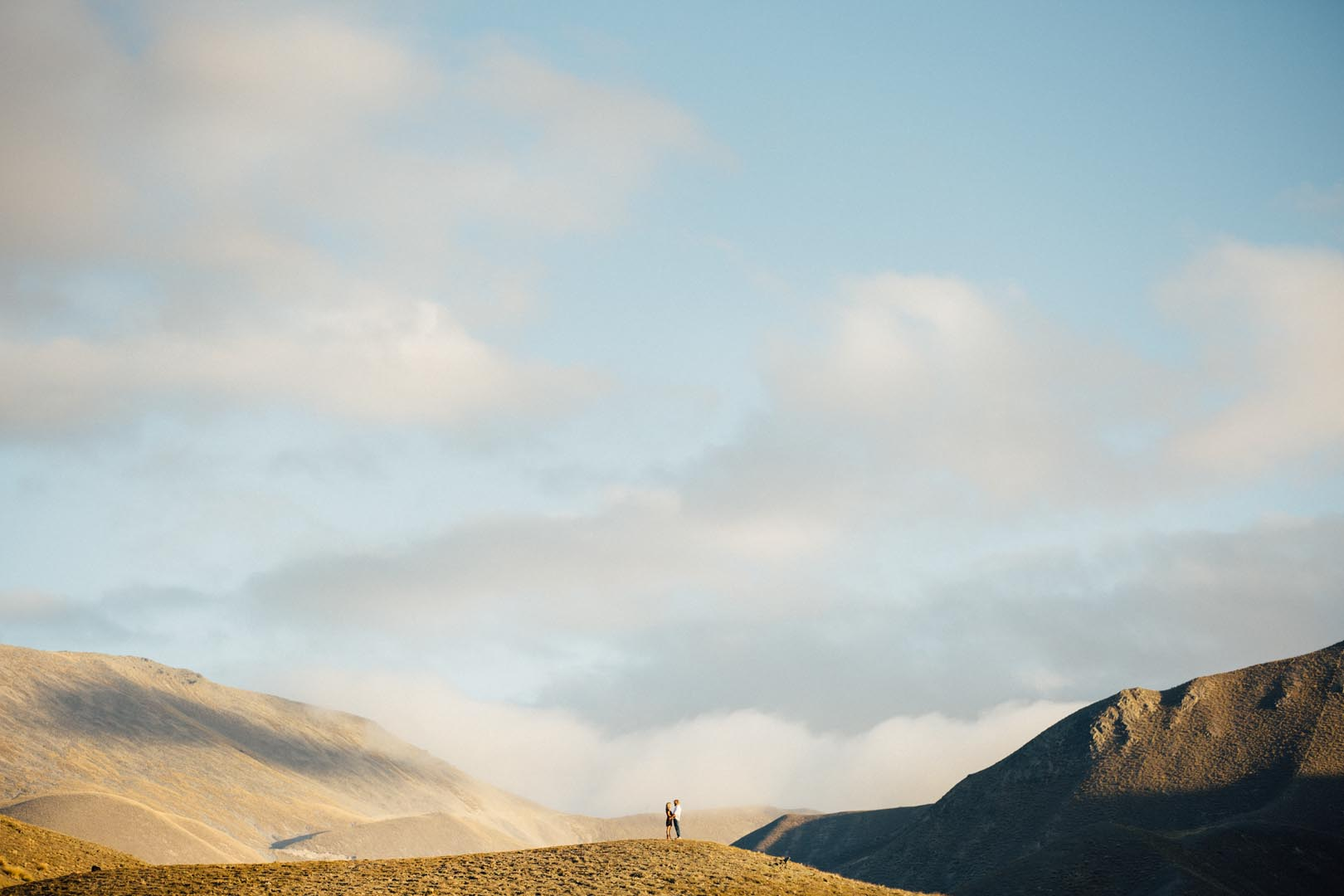 New Zealand engagement photo shoot in the mountains