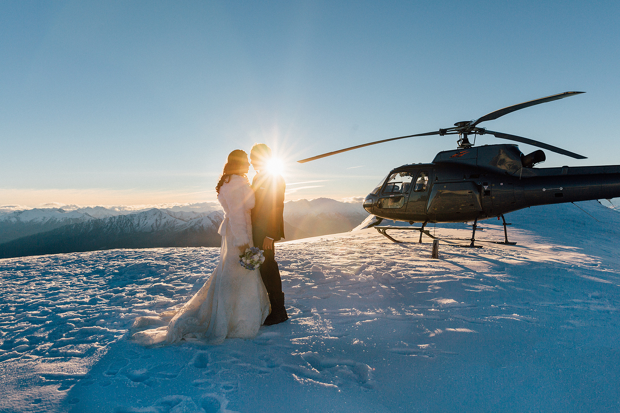 Queenstown Winter Wedding Photography Helicopter